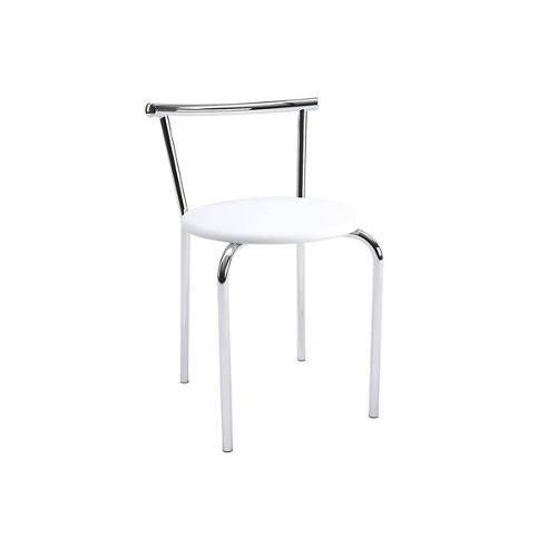 Caixa C/ 4 Banquetas Carraro 105 - Cor Cromada - Assento Couríno Branco