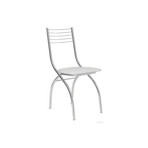 Caixa C/ 4 Cadeiras Carraro 146 - Cor Cromada - Assento Couríno Branco