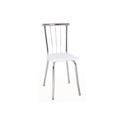 Caixa C/ 4 Cadeiras Carraro 154 - Cor Cromada - Assento Couríno Branco