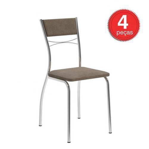 Caixa C/ 4 Cadeiras Carraro 1701 - Cor Cromada - Assento/Encosto Camurça Conhaque