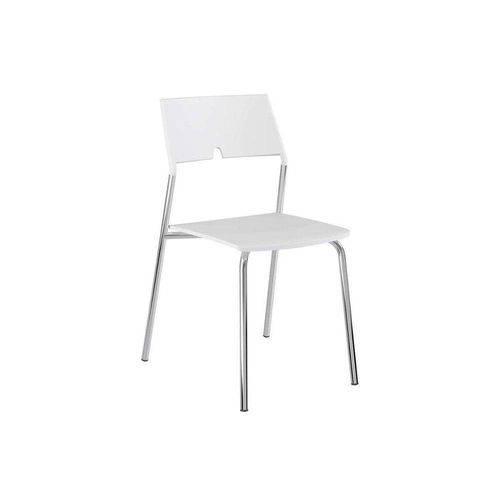 Caixa C/ 4 Cadeiras Carraro 1711 - Cor Cromada - Polipropileno Branco