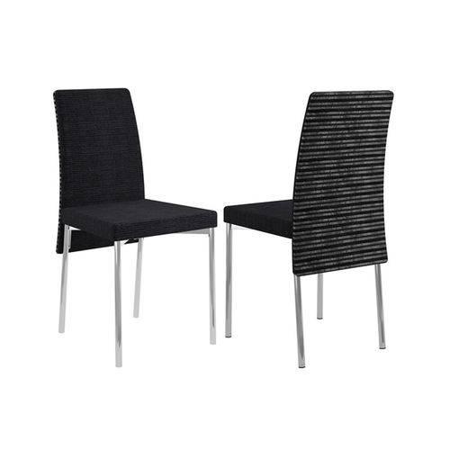 Caixa C/ 2 Cadeiras Carraro 306 - Cor Cromada - Assento/Encosto Black Listrado