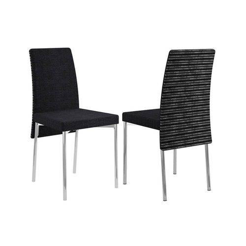 Caixa C/ 2 Cadeiras Carraro 306 Cor Cromada - Assento/Encosto Black Listrado