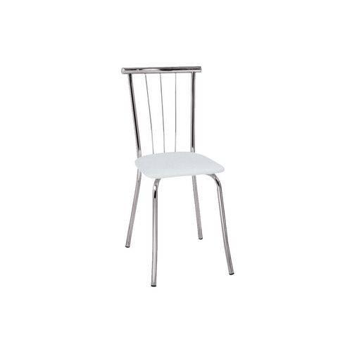 Caixa C/ 2 Cadeiras Carraro 154 - Cor Cromada - Assento Couríno Branco