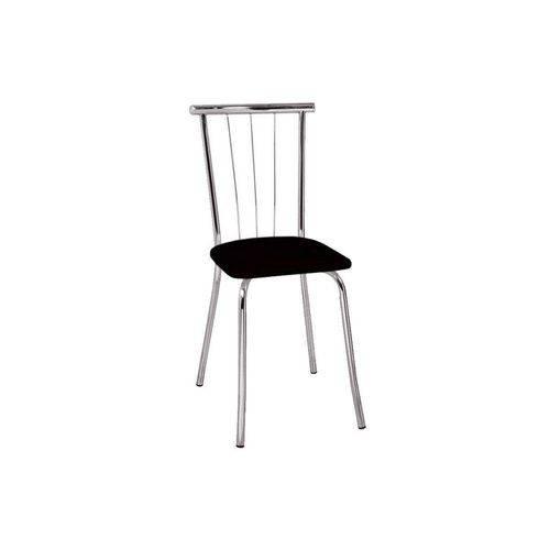 Caixa C/ 2 Cadeiras Carraro 154 - Cor Cromada - Assento Couríno Preto