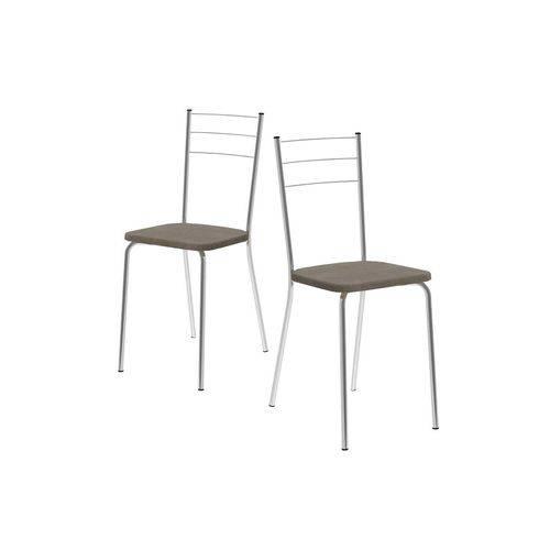 Caixa C/ 2 Cadeiras Carraro 1703 - Cor Cromada - Assento Camurça Conhaque