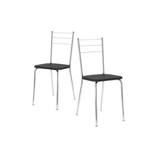 Caixa C/ 2 Cadeiras Carraro 1703 - Cor Cromada - Assento Couríno Preto