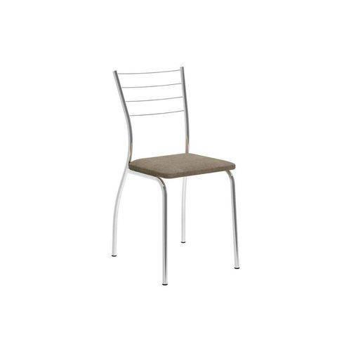 Caixa C/ 2 Cadeiras Carraro 1700 - Cor Cromada - Assento Camurça Conhaque