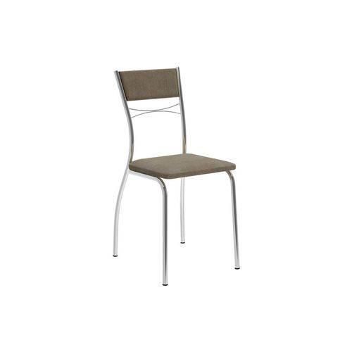 Caixa C/ 2 Cadeiras Carraro 1701 - Cor Cromada - Assento/Encosto Camurça Conhaque