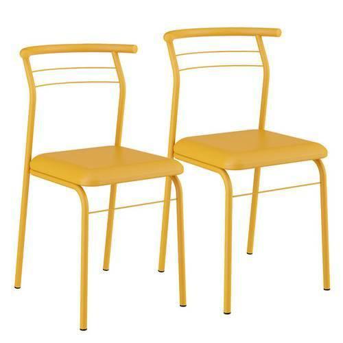 Caixa C/ 2 Cadeiras Carraro 1708 Color - Cor Amarelo Ouro - Assento Couríno Amarelo Ouro