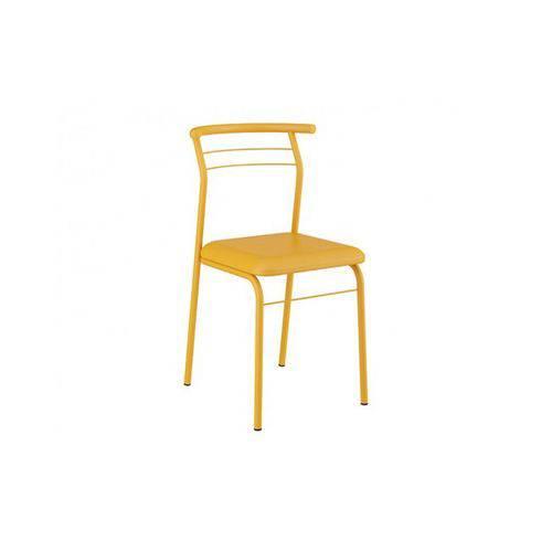 Caixa C/ 2 Cadeiras Carraro 1708 Color - Cor Amarelo Ouro/Assento Couríno Amarelo Ouro