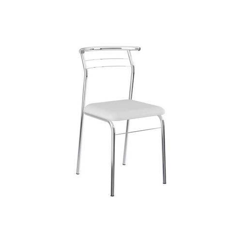 Caixa C/ 2 Cadeiras Carraro 1708 - Cor Cromada - Assento Couríno Branco