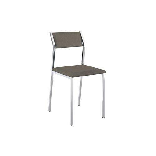 Caixa C/ 2 Cadeiras Carraro 1709 - Cor Cromada - Assento/Encosto Camurça Conhaque