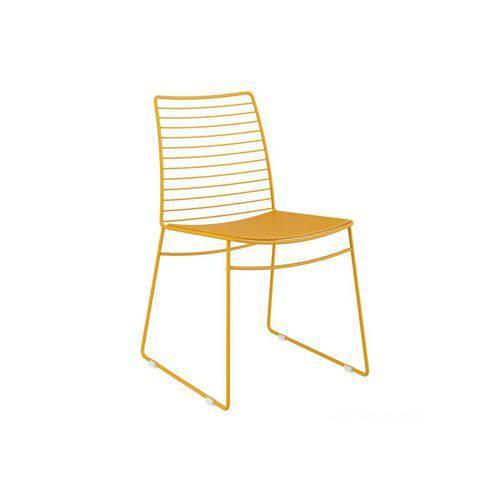 Caixa C/ 2 Cadeiras Carraro 1712 Color - Cor Amarelo Ouro/Assento Couríssimo Amarelo Ouro