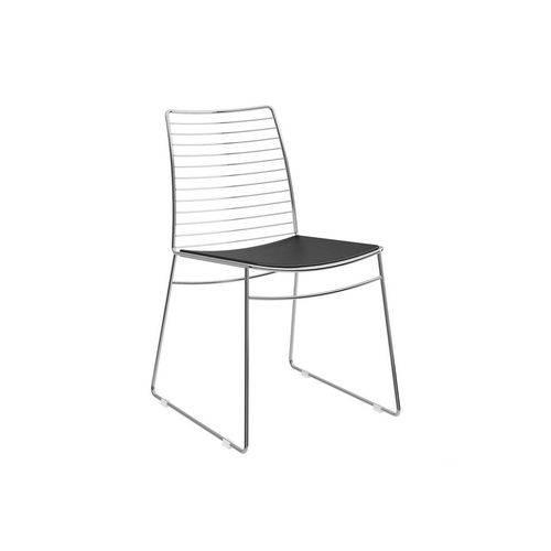 Caixa C/ 2 Cadeiras Carraro 1712 - Cor Cromada - Assento Couríssimo Preto