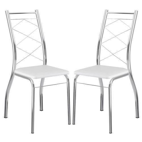 Caixa C/ 2 Cadeiras Carraro 1710 - Cor Cromada - Assento Couríno Branco