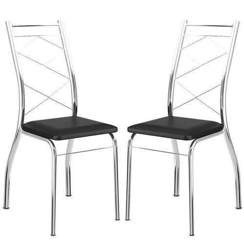 Caixa C/ 2 Cadeiras Carraro 1710 - Cor Cromada - Assento Couríno Preto