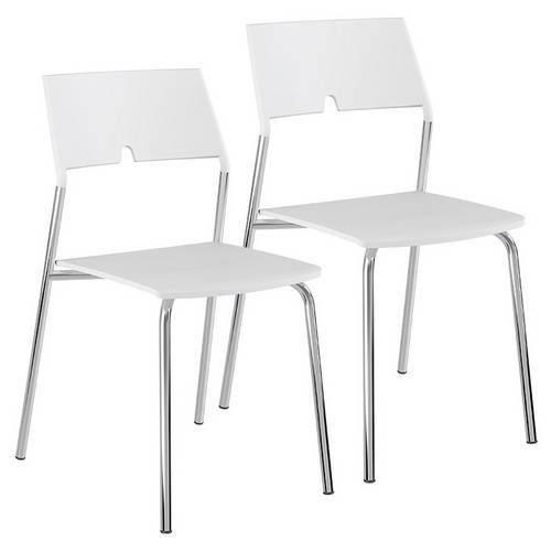 Caixa C/ 2 Cadeiras Carraro 1711 - Cor Cromada - Polipropileno Branco
