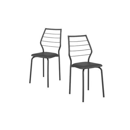 Caixa C/ 2 Cadeiras Carraro 1716 Color - Cor Preto - Assento Couríno Preto