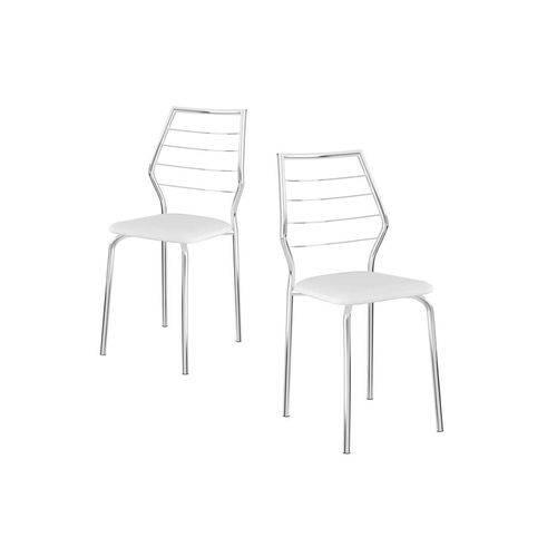 Caixa C/ 2 Cadeiras Carraro 1716 - Cor Branco - Assento Couríno Branco