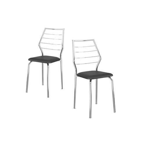 Caixa C/ 2 Cadeiras Carraro 1716 - Cor Cromada - Assento Couríno Preto