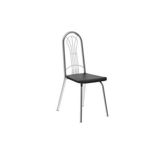 Caixa C/ 2 Cadeiras Carraro 182 - Cor Cromada - Assento Couríno Preto