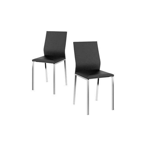 Caixa C/ 2 Cadeiras Carraro 1804 - Cor Cromada/Assento/Encosto Couríssimo Preto