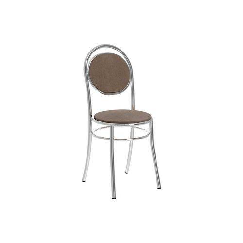 Caixa C/ 2 Cadeiras Carraro 190 - Cor Cromada - Assento/Encosto Camurça Conhaque