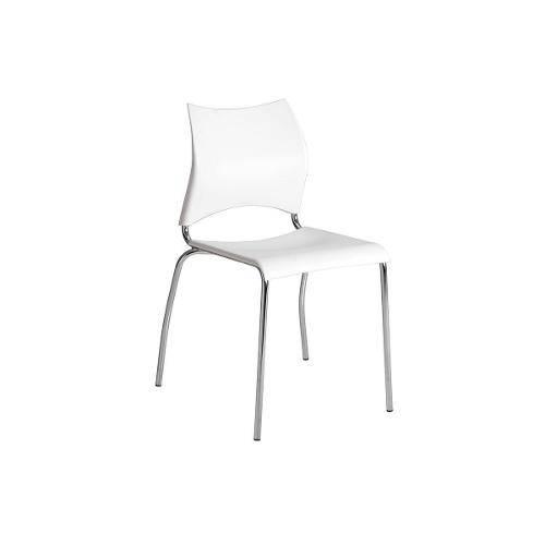 Caixa C/ 2 Cadeiras Carraro 357 - Cor Cromada - Polipropileno Branco