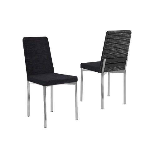 Caixa C/ 2 Cadeiras Carraro 399 - Cor Cromada - Assento/Encosto Black Listrado - Madeirado Preto Tra