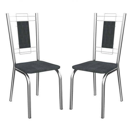 Caixa C/ 2 Cadeiras Kappesberg Florença 2C005CR - Cor Cromada - Assento Preto Linho Cinza 17