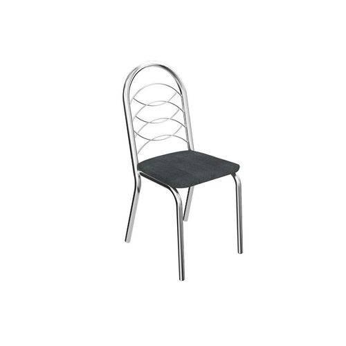 Caixa C/ 2 Cadeiras Kappesberg Holanda 2C009CR - Cor Cromada - Assento Preto Linho Cinza 17