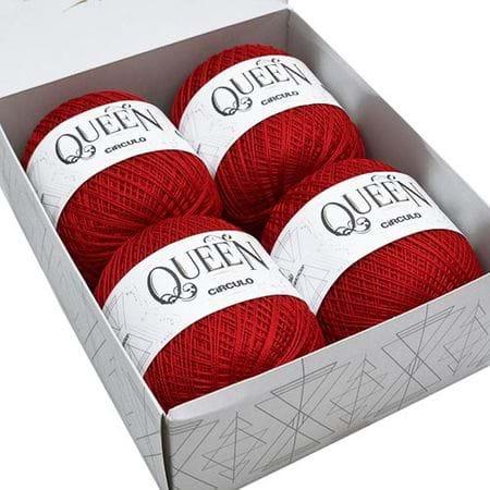 Caixa de Luxo Linha Queen Nº 5 - 4 Novelos 3402 Vermelho Círculo