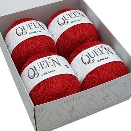 Caixa de Luxo Linha Queen Nº 8 - 4 Novelos 3402 Vermelho Círculo