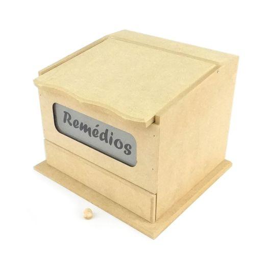 Caixa de Remédio com Vidro Jateado e 1 Gaveta