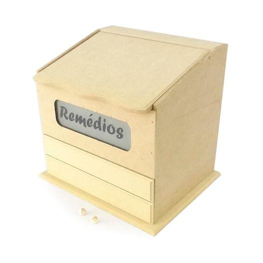 Caixa de Remédios com Vidro Jateado e 2 Gavetas