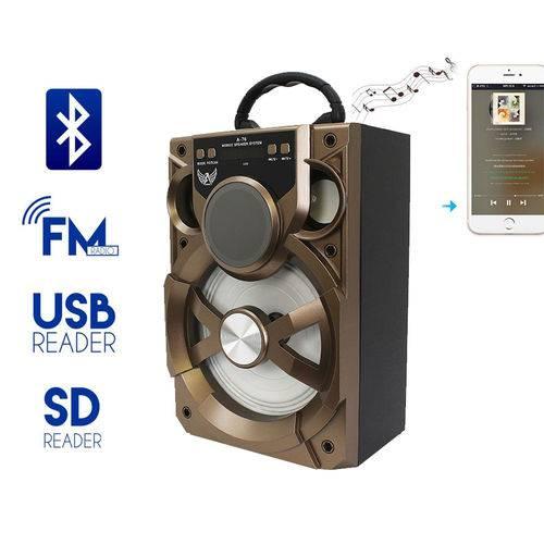 Caixa de Som A76 Altomex Bluetooth Led Usb Sd Rádio Fm Potente 15w Dourada