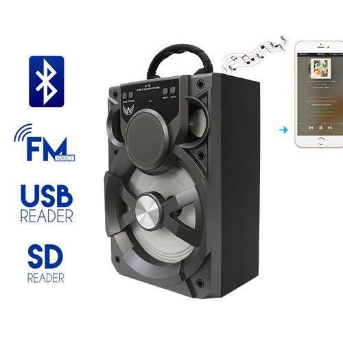 Caixa de Som A76 Altomex Bluetooth Led Usb Sd Rádio Fm Potente 15w Prata