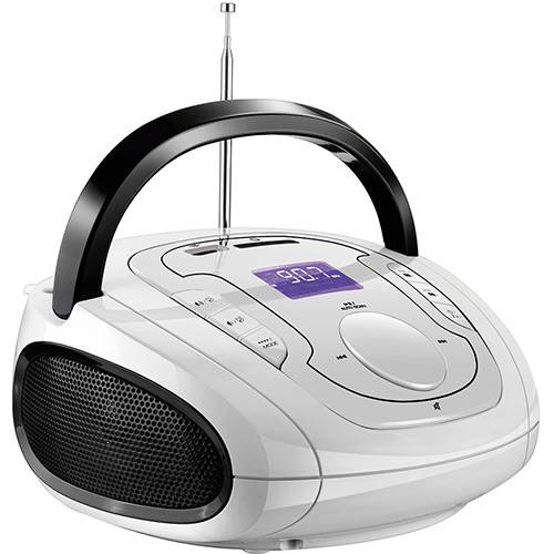 Caixa de Som Bluetooth Multilaser SP185 Boombox Branco e Preto 15W USB P2