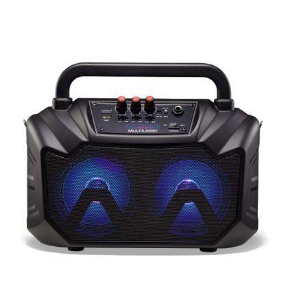 Caixa de Som Double Speaker Portátil 80W RMS Luz de LED Bluetooth + Cartão SD + USB + Rádio FM + AUX + Microfone Preto Multilaser - SP289 SP289