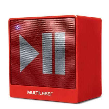 Caixa de Som Mini Aux 8W Bluetooth Vermelha Multilaser - SP279 SP279