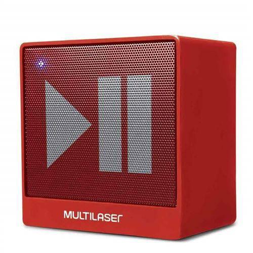 Caixa de Som Mini Aux 8w Bluetooth Vermelha Multilaser Sp279