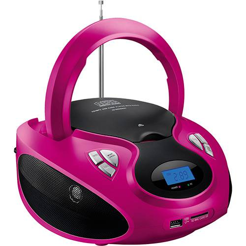 Caixa de Som Multilaser Boombox Rosa / Preto 20 RMS CD/USB/SD/FM/AUX