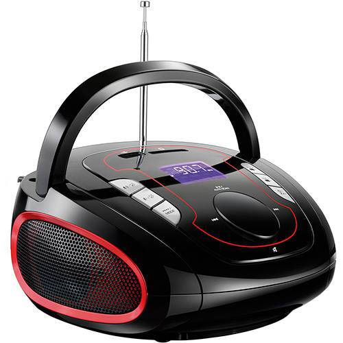 Caixa de Som Multilaser Sp186 Boombox Bluetooth 15w Preta e Vermelha