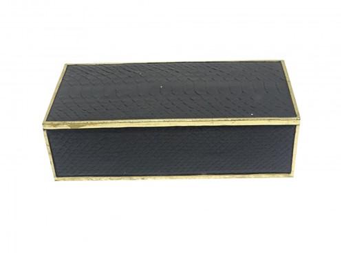 Caixa Decorativa Croco Preta 30x15x9cm - Occa Moderna