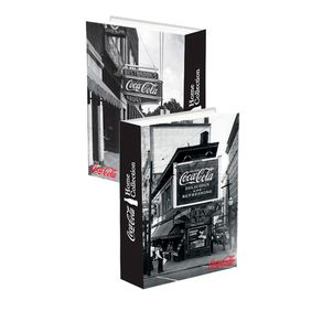 Caixa Decorativa Livro Coca-Cola Preto e Branco