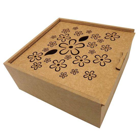Caixa Estojo Quadrada em MDF com 4 Divisões Margaridas 20x20x8,3cm - Palácio da Arte