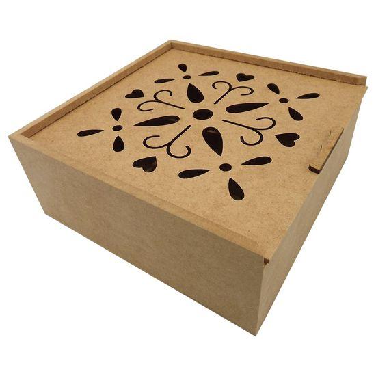 Caixa Estojo Quadrada em MDF com 4 Divisões Pétalas 20x20x8,3cm - Palácio da Arte