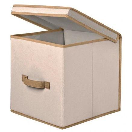 Caixa Organizadora em Tecido com Tampa Bege Uso Geral 30Lx30Cx30A