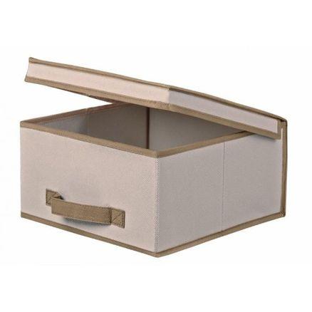 Caixa Organizadora em Tecido com Tampa Bege Uso Geral 30Lx30Cx15A